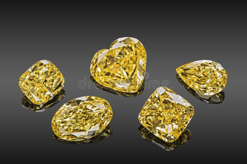 Set of luxury yellow transparent sparkling gemstones of various cut shape diamonds collage isolated on black background royalty free stock photo