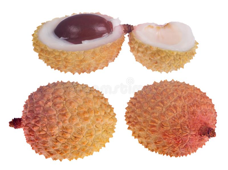 Set of lychee fruits isolated on white royalty free stock image