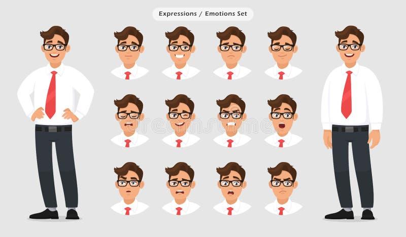Set męscy różni wyrazy twarzy Obsługuje emoji charakteru z różnorodną twarzy reakcją, emocją/, w formalnym i eyeglasses ilustracji
