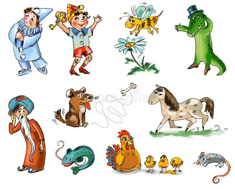 Set Märchenzeichen und -tiere stock abbildung