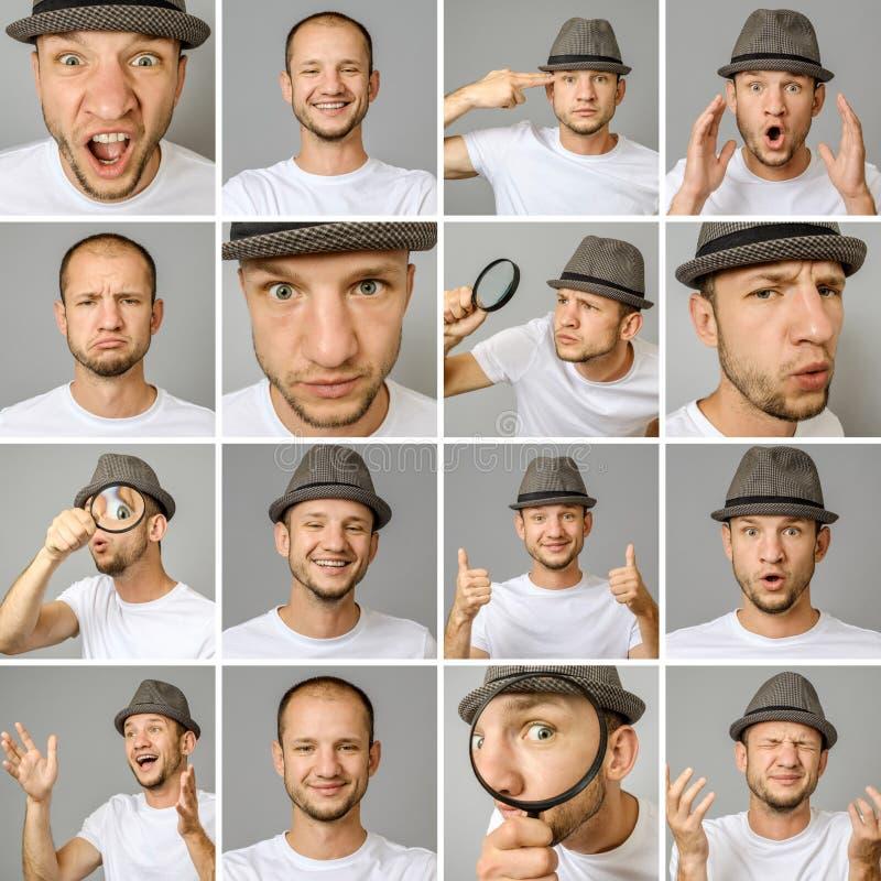 Set młodego człowieka ` s portrety z różnymi emocjami i gestami obrazy royalty free