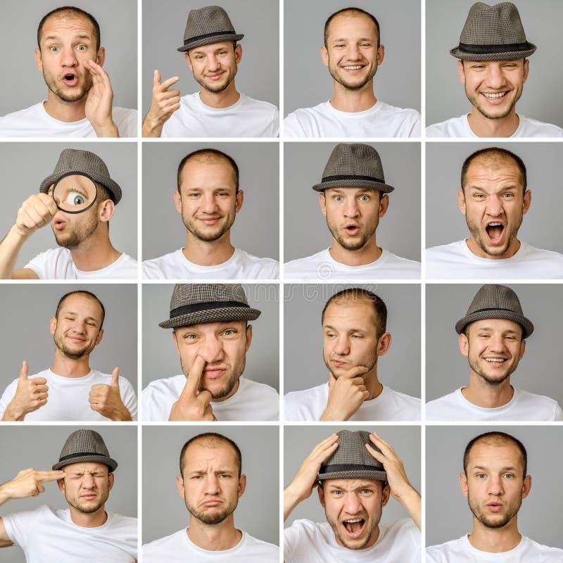 Set młodego człowieka ` s portrety z różnymi emocjami i gestami obraz royalty free