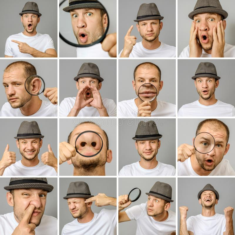 Set młodego człowieka ` s portrety z różnymi emocjami i gestami zdjęcia stock