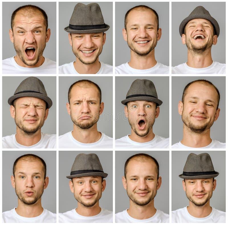 Set młodego człowieka ` s portrety z różnymi emocjami i gestami fotografia stock