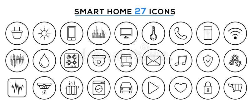 Set mądrze dom linii ikony, mądrze domowa automatyzacja systemu technologia IOT lub internet rzeczy royalty ilustracja