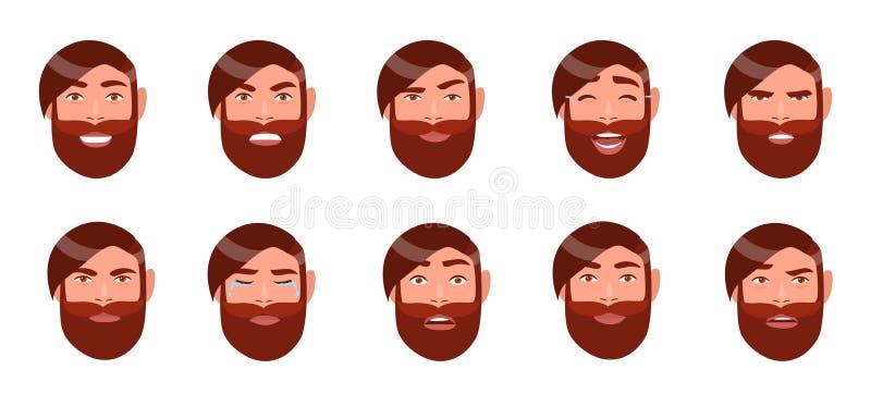 Set mężczyzna ` s emocje Brodata facet twarz Postać z kreskówki z różną wyraz twarzy kolekcją Kolorowy wektor ilustracji