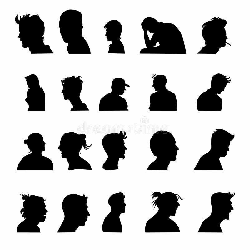 Set mężczyzny avatar twarzy sylwetka ilustracja wektor