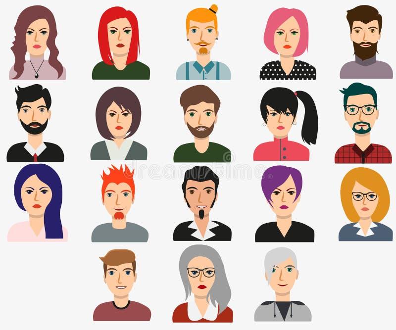 Set mężczyzny i kobiety avatars dla sieci tła projekta ilustracja wektor