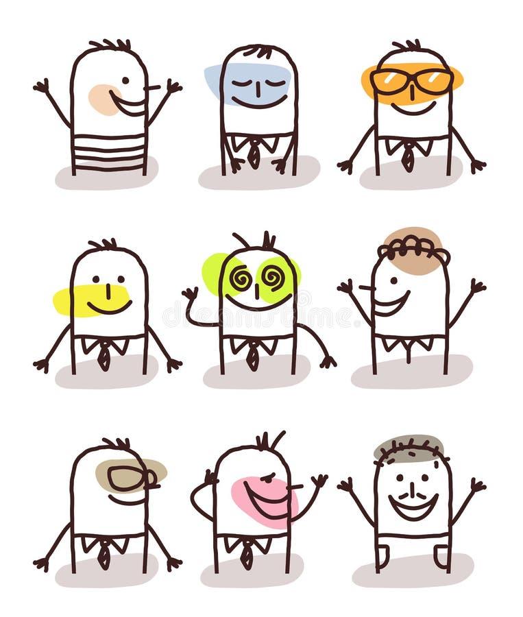 Set męscy avatars - dobrzy nastroje ilustracja wektor