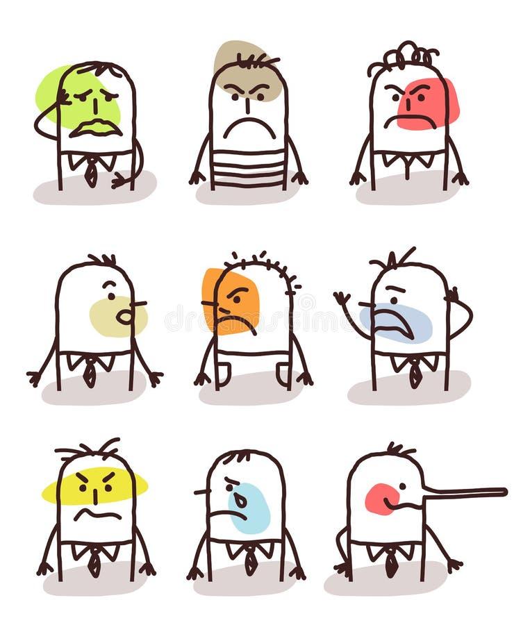 Set męscy avatars - zli nastroje royalty ilustracja