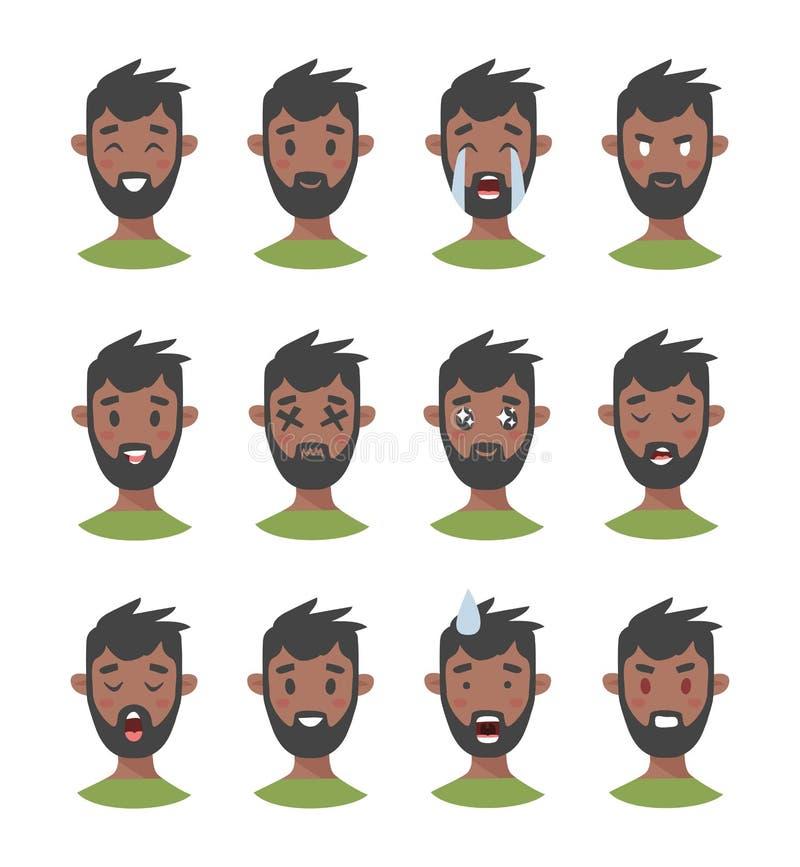 Set męscy emoji charaktery Kreskówki emoci stylowe ikony Odosobneni czarni chłopiec avatars z różnymi wyrazami twarzy Płaska bolą ilustracja wektor