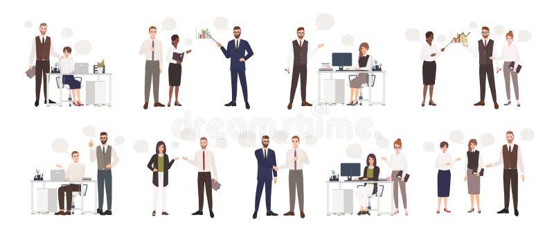 Set męscy i żeńscy urzędnicy opowiada each inny Ludzie biznesu lub urzędnicy komunikuje z kolegami royalty ilustracja