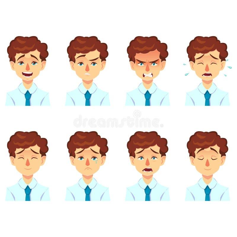 Set męski twarzowy emoci avatar biznesmena mężczyzna z wąsy emoji śmiesznym ślicznym charakterem z różnymi wyrażeniami royalty ilustracja