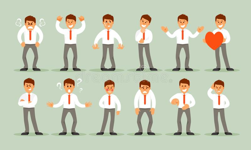 Set męskie emocje ilustracji