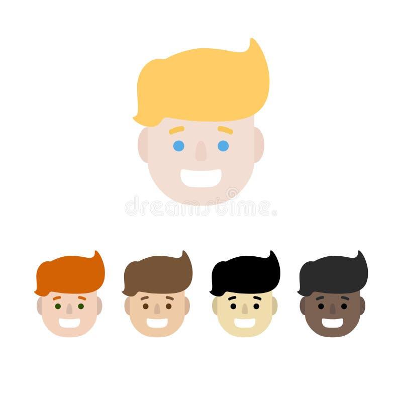 Set męskie szczęśliwe twarze, kolorowe płaskie wektorowe ikony, EPS 10 ilustracji
