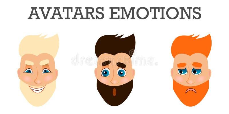 Set męskie twarzowe emocje Brodaty mężczyzna emoji charakter z różnymi wyrażeniami ilustracji