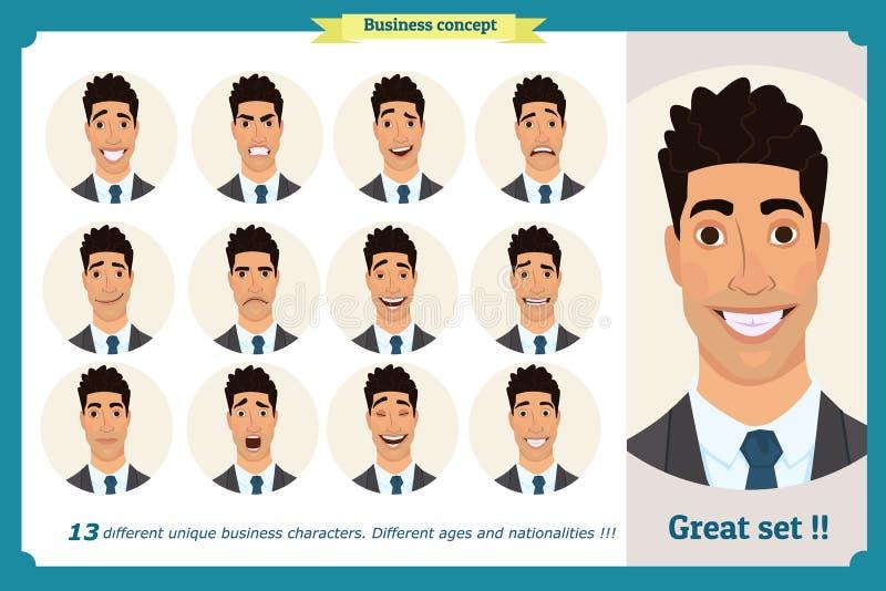 Set męskie twarzowe emocje Twarzy wyrażenia mężczyzna Biznesmen w krawacie i kostiumu Odosobniony wektor na bielu royalty ilustracja