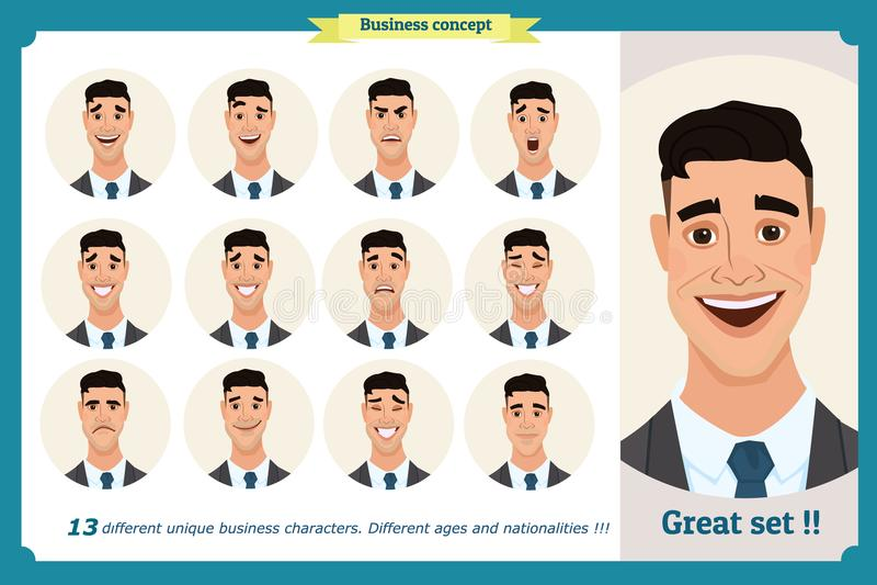 Set męskie twarzowe emocje Twarzy wyrażenia mężczyzna Biznesmen w krawacie i kostiumu Odosobniony wektor na bielu ilustracja wektor