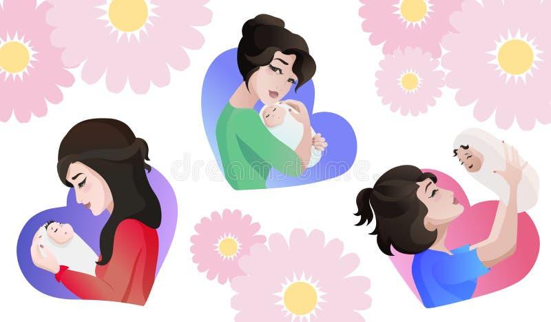 Set młode azjata matki z dzieckiem w rękach royalty ilustracja