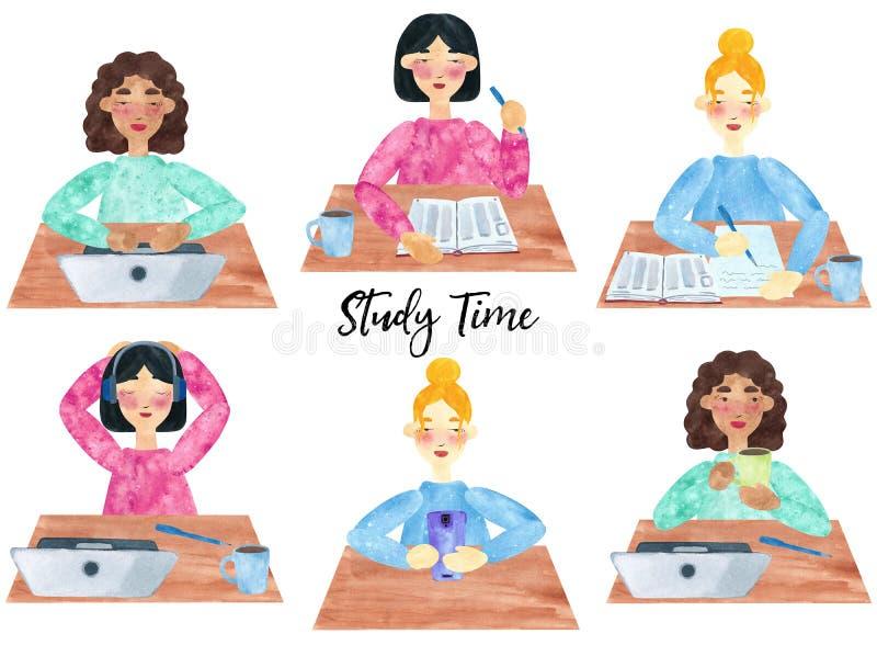 Set młode dziewczyny przy studiowaniem royalty ilustracja