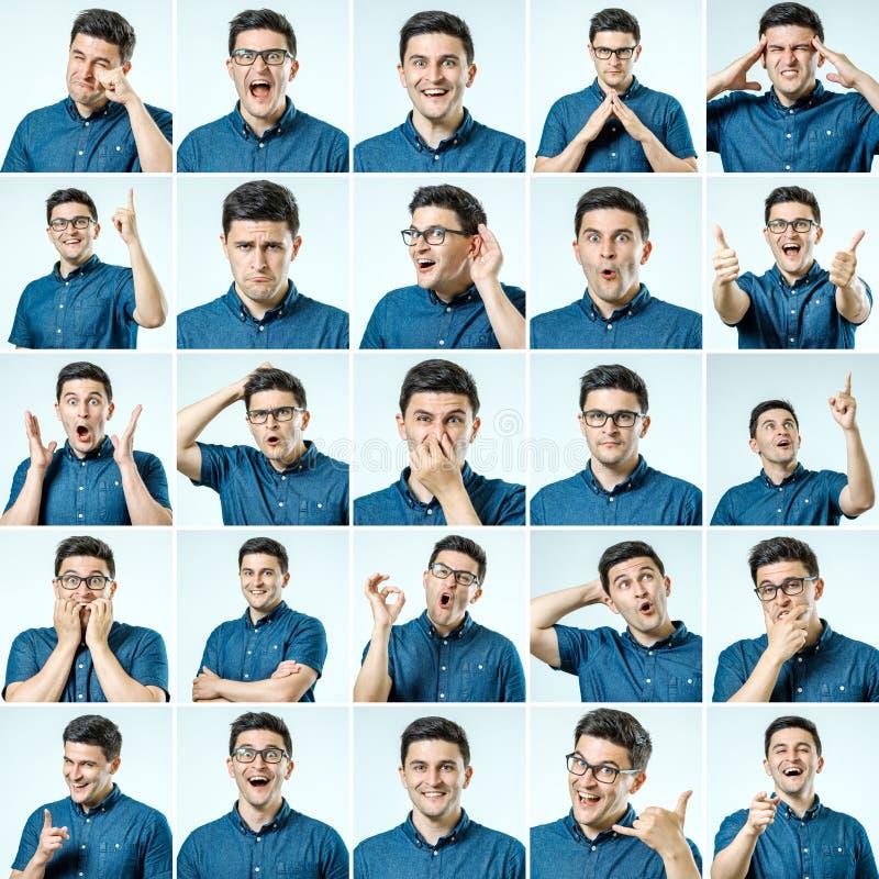 Set młodego człowieka ` s portrety z różnymi emocjami i gestem zdjęcia stock