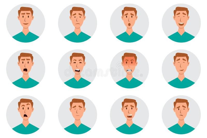 Set m?skie twarzowe emocje M??czyzna emoji charakter z r??nymi wyra?eniami royalty ilustracja