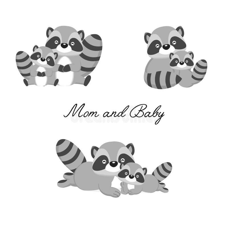 Set mały szop pracz i matka Lasu zwierzęcia kreskówka ilustracji