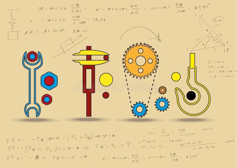 Set machinalne ikony. ilustracja wektor
