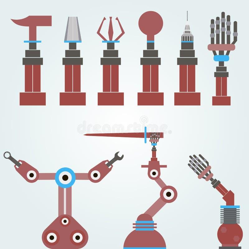 Set machinalne ręki, roboty ilustracji