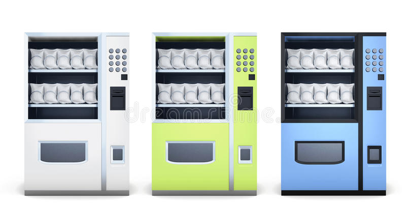 Set of machine for sale of snacks on white background. vector illustration