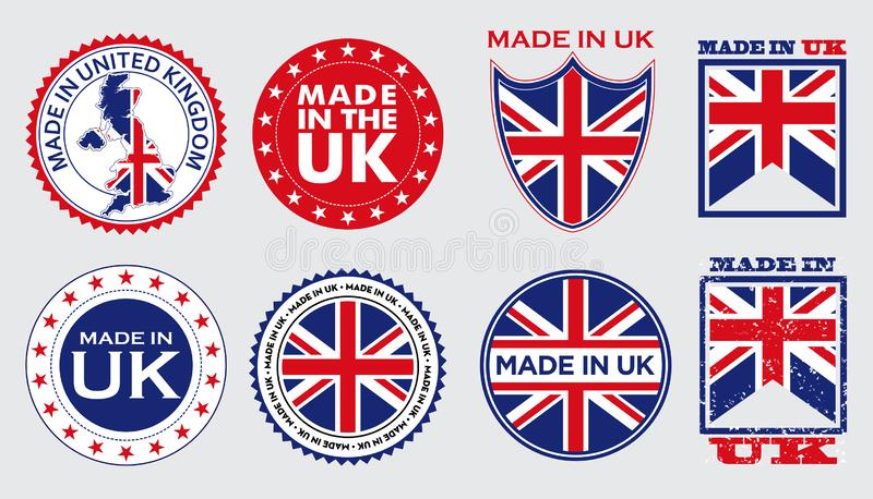 Set of made in united kingdom label for retail product or fabric items. stock illustration