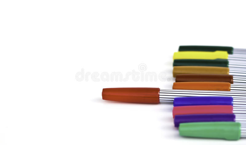 Set of magic color pens of different colors. And text- back to school royalty free stock photos