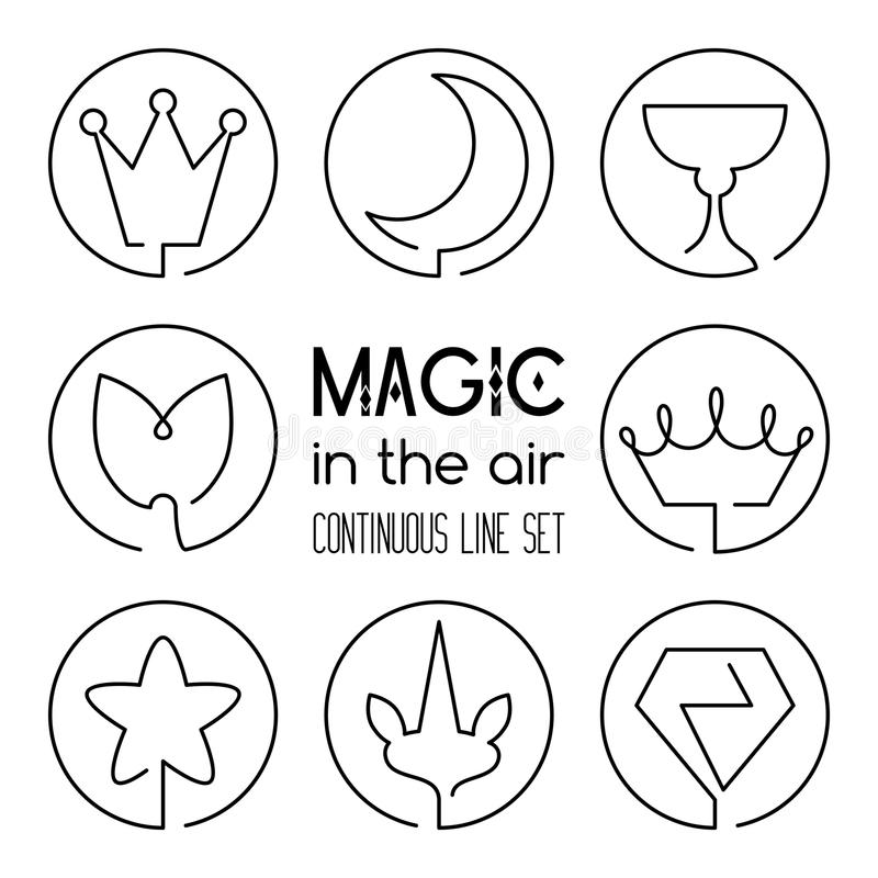 Set of magic fantasy continuous line art icons royalty free illustration