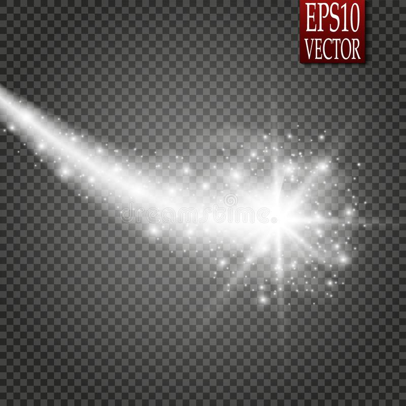 Set of magic glowing spark swirl trail effect isolated on transparent background. Bokeh glitter wave line with flying stock illustration