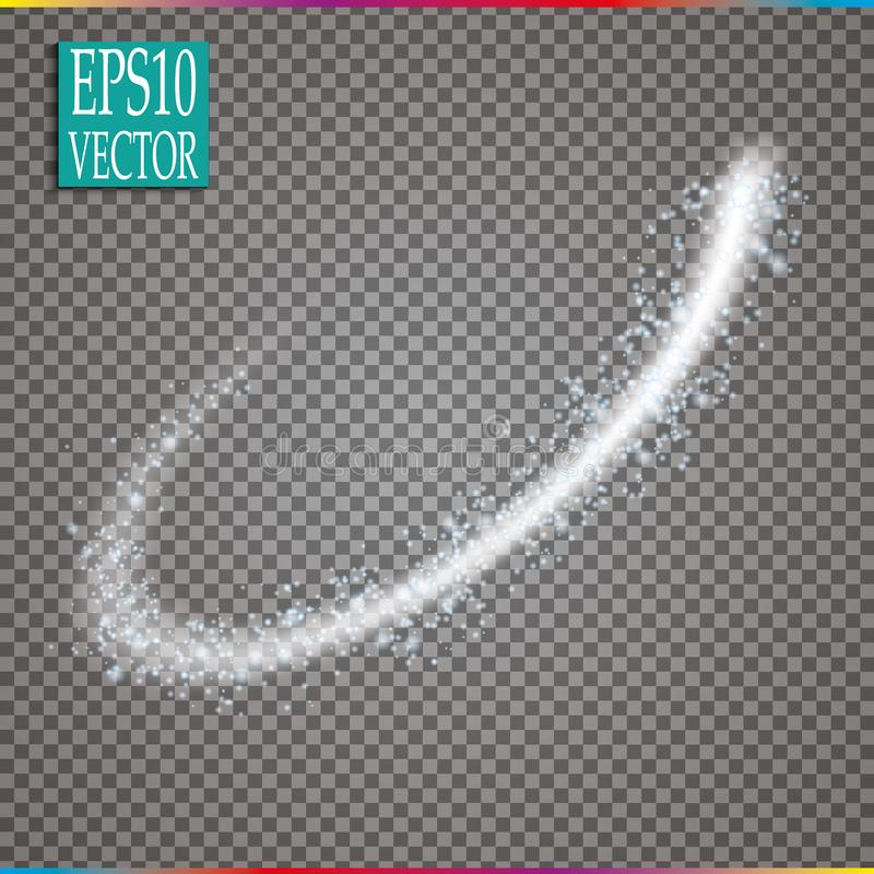 Set of magic glowing spark swirl trail effect on transparent background. Bokeh glitter wave line with flying vector illustration