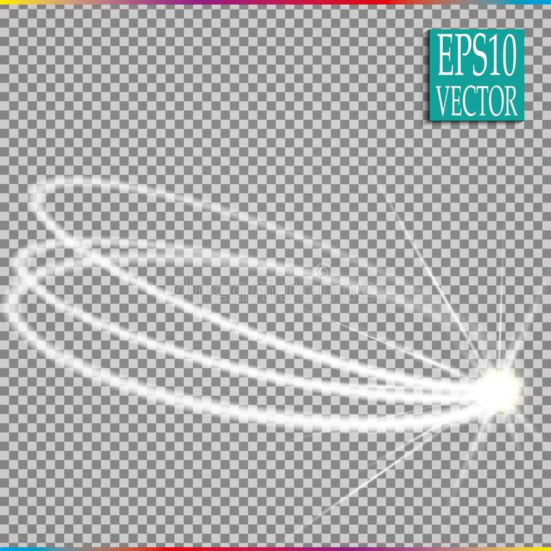 Set of magic glowing spark swirl trail effect on transparent background. Bokeh glitter wave line with flying royalty free illustration
