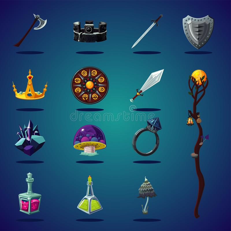 Legendary asset. Set of magic items and resource for computer fantasy game. Isolated cartoon icons set. stock illustration