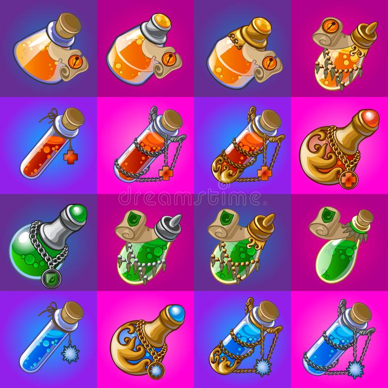 Set of magic potions in glass flasks on pink and purple background. Sketch for stickers, card, seamless texture stock illustration