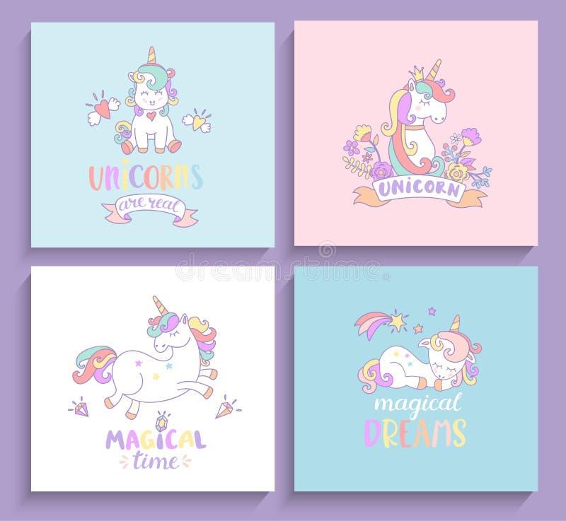 Set of magical unicorns greeting cards stock vector illustration download set of magical unicorns greeting cards stock vector illustration of cartoon dream m4hsunfo