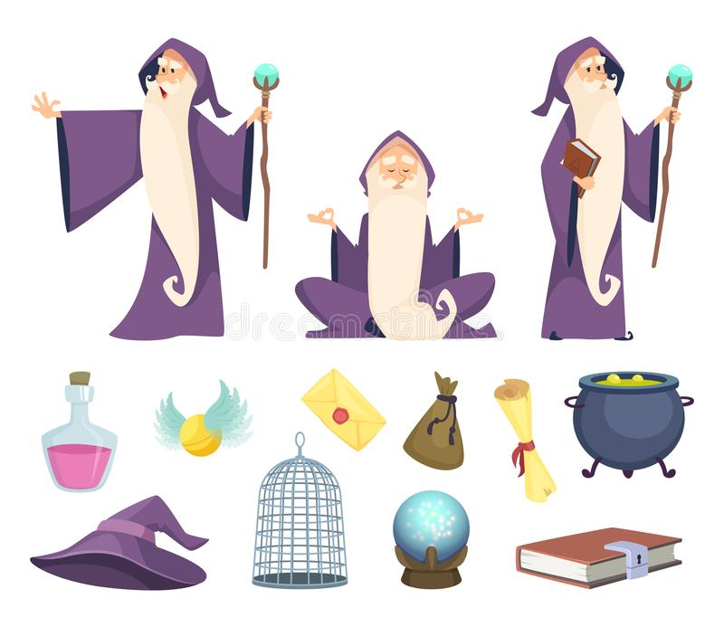 Set of magician tools and male wizard character. Vector pictures isolated on white background royalty free illustration