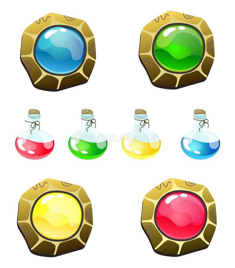 Set magiczna fantazja zapina i butelki z cieczem Wektor odizolowywa jest idealny dla sieć projekta i online hazardu ilustracji