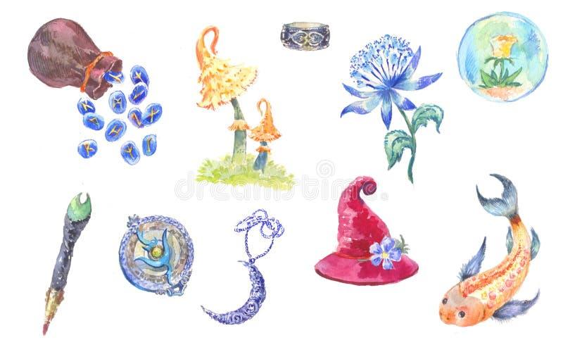 Set magiczne rzeczy w akwareli ilustracja wektor
