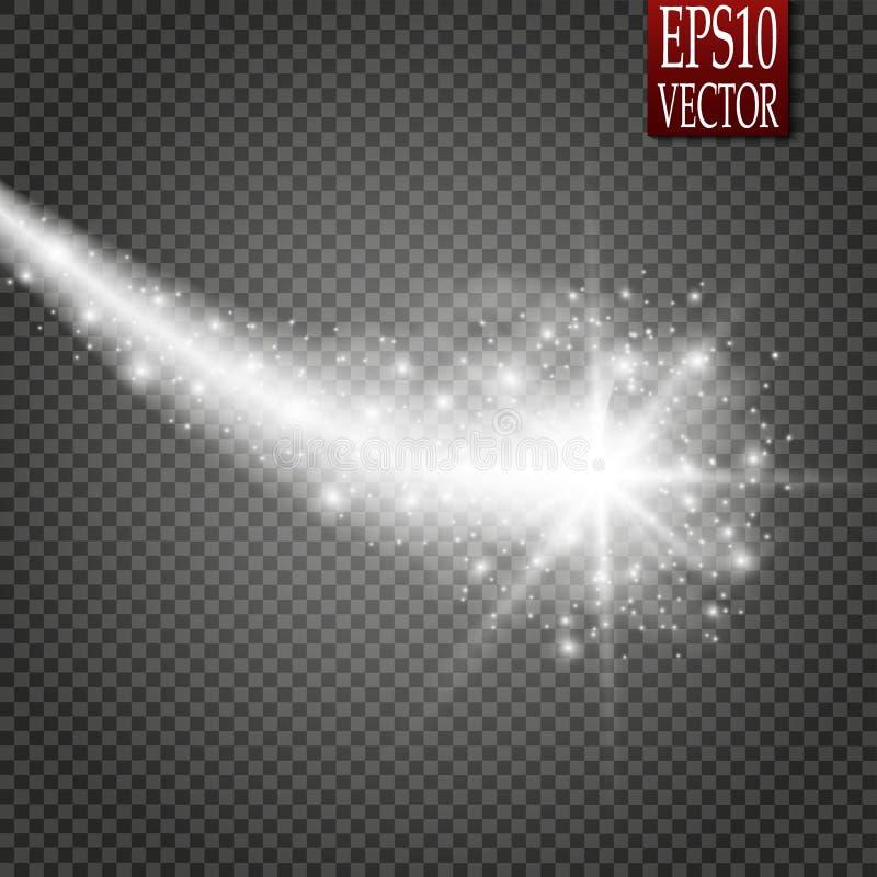 Set magiczny rozjarzony iskrowy zawijasa śladu skutek odizolowywający na przejrzystym tle Bokeh błyskotliwości fala linia z latan ilustracji