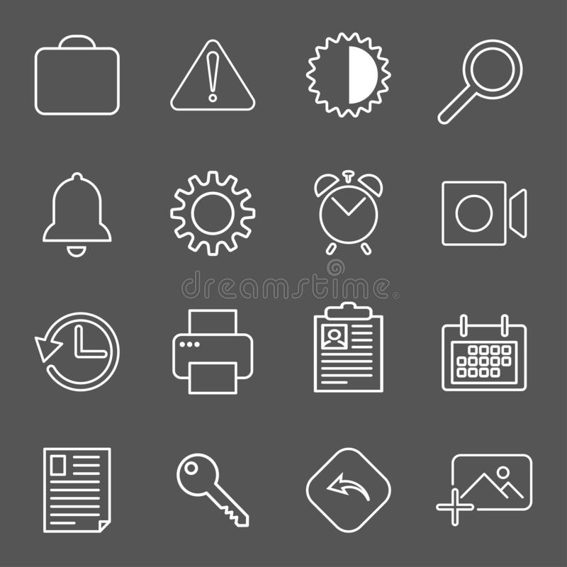 Set with mail icons in modern style. High quality symbols for web site design and mobile apps. Simple mail pictograms on stock illustration