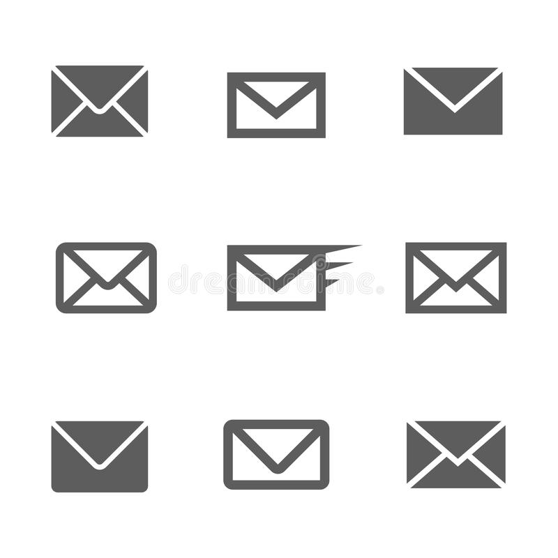 Set of mail icons stock photography