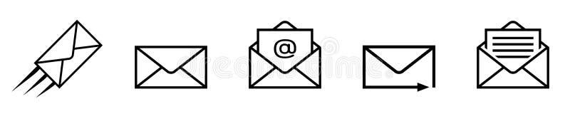 Set mail isolated on white background vector illustration
