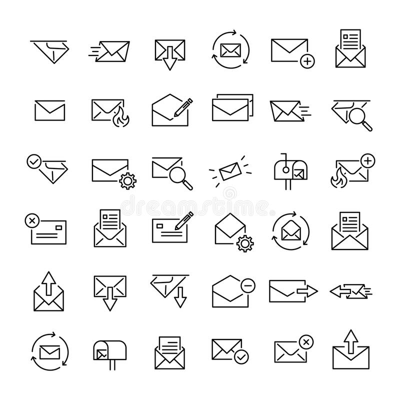 Set of 36 mail thin line icons stock illustration