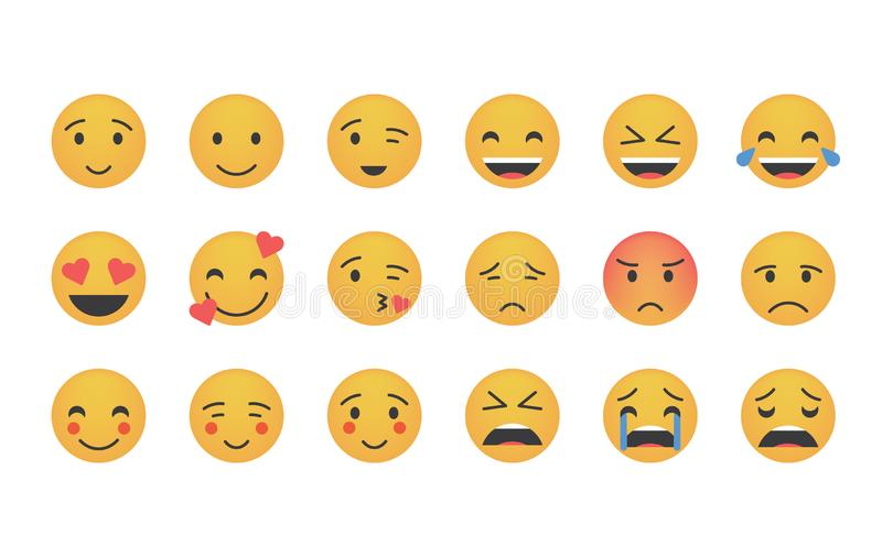 Set of main emoticon vector royalty free illustration