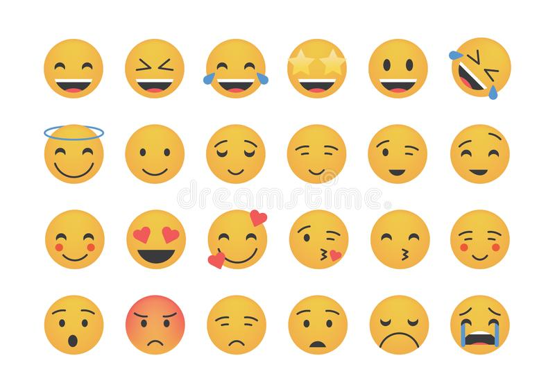 Set of main emoticon vector stock illustration