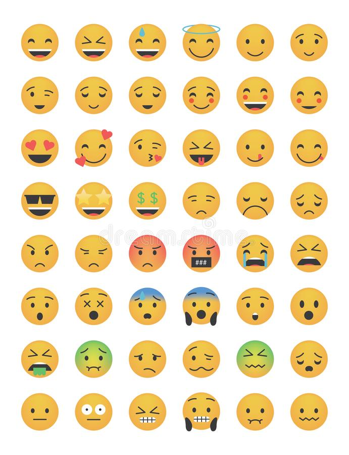 Set of main emoticon vector stock illustration